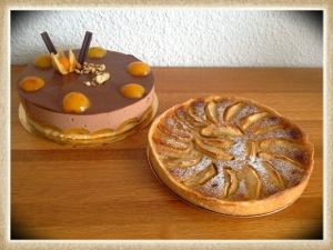 entremet chocolat- abricots  et tarte Vergeoise